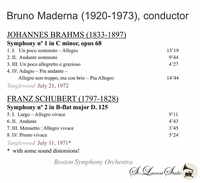 Bruno Maderna, Vol. II;   Boston S .O. - Brahms, Schubert   (St Laurent Studio YSL T-360)