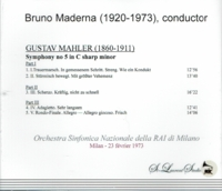 Bruno Maderna, Vol. VI  - Mahler 5th       (St Laurent Studio YSL T-459)