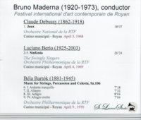 Bruno Maderna, Vol. XV;  The Swingle Singers       (St Laurent Studio YSL T-469)