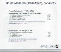 Bruno Maderna, Vol. XVI    -  Schubert     (St Laurent Studio YSL T-470)