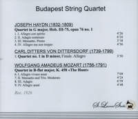 Budapest String Quartet      (St Laurent Studio YSL 78-199)