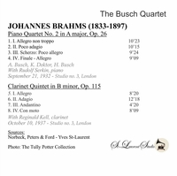 Busch String Quartet, Vol. IV;  Rudolf Serkin;  Reginald Kell  -  Brahms  (St Laurent Studio YSL 78-264)