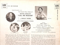 Call Me Madam   (RCA LOC-1000)   Partially Original Broadway cast LP