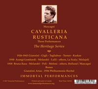 Cavalleria Rusticana - 3 Performances (Giannini, Arangi-Lombardi,  Bruna-Rasa, Gigli)  (3-Immortal Performances IPCD 1082)