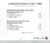 Charles Munch, Vol. XV  - Brahms & Strauss    (St Laurent Studio YSL T-428)