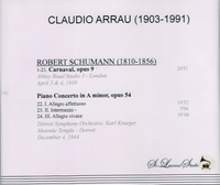 Claudio Arrau, Vol. I;  Krueger     (St Laurent Studio YSL 78-067)