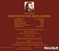 Der Fliegende Hollander  (Steiner;  Janssen, Bohme, Friedrich, Andersen)  (2-Immortal Performances IPCD 1080)