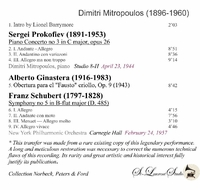 Dimitri Mitropoulos, Vol. I    (Playing &  Cond. NYPO & NBC S.O.)   (St Laurent Studio YSL 33-386)