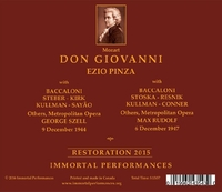 Don Giovanni - TWO Performances  (Szell; Pinza, Steber, Sayao, Kullman) (4-Immortal Performances IPCD 1059)