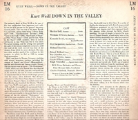"Down In the Valley  (Weill)   (10"" RCA LM-16)   1950 TV Soundtrack  LP"