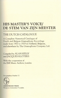 The Dutch HMV Catalogue, Stem Zijn Meester (Kelly)   9780313298837