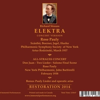 Elektra   (Rodzinski;  Rose Pauly, Huehn, Szantho, Jagel)  (2-Immortal Performances IPCD 1045)