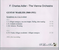 F. Charles Adler, Vol. I  -  (Mahler 6th)     (2-St Laurent Studio YSL 33-017)