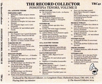 Fonotipia Tenors, Vol. II      (2-The Record Collector TRC 41)