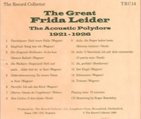 Frida Leider  -  The Record Collector    (TRC 14)