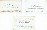 "Gailhard, Pedro, ""Directeur de l'Academie Nationale de Musique"". 3 inscribed Cartes de Visite - 1 signed. Approx, 4.25x2.75 Some very slight smudging on one card."