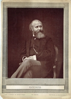 GOUNOD, CHARLES. 1 unsigned mounted photo on paper, Gallerie Contemporaine, Phot. Goupil et Cie. Cliché Mulnier 9.75x13.5.