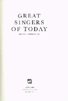 Great Singers of Today  (Harold Rosenthal)     0405097042