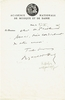 Hahn, Reynaldo. 1 ALS to Henri Heugel, 4.5x9. 1 signed note, Acad�mie Nationale de Musique et de Danse, October 27, 1945 5.5x8.5. / 1 inscribed and signed scenic postcard from Hotel de France-Nevers, October 15, 1938, 5.5x3.5. 1 inscribed Carte de Visite, 3.25x2.5. 1 unsigned sepia photo card, G.L. Manuel Fr. (257). 3.5x5.5. 1 unsigned BW photo card, 3x4.5. / Sepia photo card, Collection F�lix Potin, 1.75x3