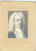 Handel, George Frederic. 1 unsigned mounted engraving, 2.5x3.25/4x6 / 4 engraved cards, 3.5x5.5