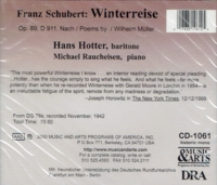 Hans Hotter;   Michael Raucheisen  (Winterreise, 1942 Version)  (Music & Arts 1061)