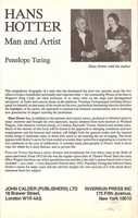 Hans Hotter, Man and Artist     (Penelope Turing)         (0-7145-3988-0)