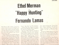 Happy Hunting  (Merman) (RCA LOC-1026)  Original Broadway cast LP