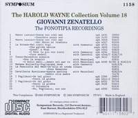 Harold Wayne, Vol. XVIII        (Giovanni Zenatello)       (Symposium 1158)