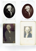 Haydn, Franz Josef. 1 unsigned mounted engraving, 2.5x3.25/4x6. 2 postcards, A.N-Paris 3.5x5.5.(166) 1 postcard colored and ornamented by hand 3.25x5.5.
