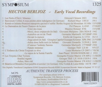 Hector Berlioz - Early Vocal Recordings        (Symposium 1325)
