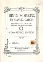 Hints On Singing     (Manuel Garcia)