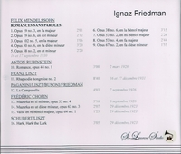 Ignaz Friedman, Vol. I     (St Laurent Studio YSL 78-055)