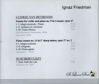 Ignaz Friedman, Vol. II;   Bronislaw Huberman    (St Laurent Studio YSL 78-056)