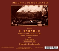 Il Tabarro;    Don Pasquale  (Albanese, Tibbett, Sayao, Martini)  (3-Immortal Performances IPCD 1057)