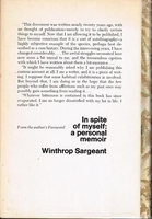 In Spite of Myself, A Personal Memoir   (Winthrop Sargeant)