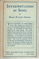 Interpretation in Song       (Harry Plunket Greene)