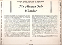 It's Always Fair Weather     (M-G-M E3241)    M-G-M Soundtrack LP