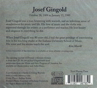 Josef Gingold - Exclusive Interview  (Atlantic Crossing Records 0003)