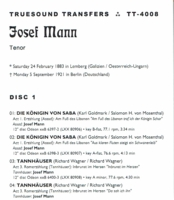 Josef Mann;  Barbara Kemp   (2-Truesound Transfers 4008)