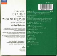 Julius Katchen  (Brahms, for Solo Piano)   (6-London 455 247)