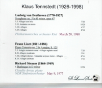 Klaus Tennstedt, Vol. V;  Claudio Arrau   (St Laurent Studio YSL T-663)