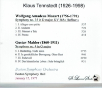 Klaus Tennstedt, Vol. VII;  Mozart & Mahler - Boston   (St Laurent Studio YSL T-696)