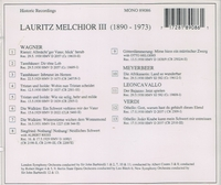 Lauritz Melchior   (as Tenor)                (Preiser 89086)