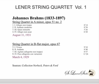 Lener String Quartet, Vol. I   (Brahms)     (St Laurent Studio YSL 78-634)