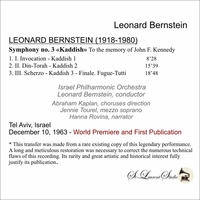 Leonard Bernstein, Vol. III;  Jennie Tourel    (St Laurent Studio YSL 78-200)