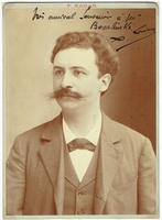 Leroux, Xavier. 1 signed cabinet photo, P. Nadar, 4.5x6 / 1 unsigned sepia cabinet photo, Henri Manuel-Paris 4.25x6