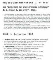 Les Collections des Chefs-d'oeuvre Artistiques de Girard & Cie  (2-Truesound Transfers 4007)