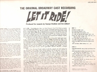 Let It Ride  (George Gobel) (RCA LSO-1064) Original Broadway cast LP