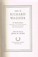 Letters of Richard Wagner     (The Burrell Collection)