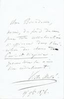 Massé, Victor. 1 ALS regarding Massé's PAUL ET VIRGINIE, September 19, 1876, 4.5x7